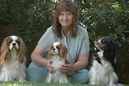 Me, Dulce Cavaliers owner, and my 3 Cavalier King Charles Spaniels: Snickers, Jazzmine, and Peanut